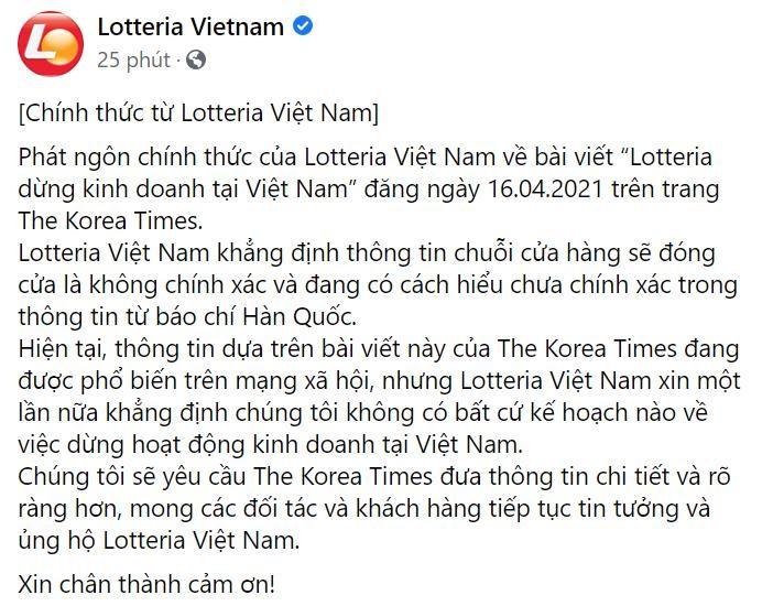 Ảnh chụp từ facebook Lotteria Việt Nam