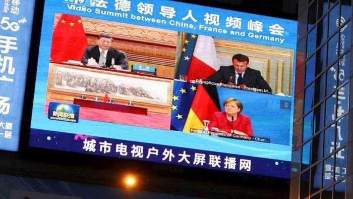 Chủ tịch Trung Quốc Tập Cận Bình họp trực tuyến với nhà lãnh đạo Pháp và Đức về vấn đề biến đổi khí hậu ngày 16/4. (Nguồn: Báo Quốc tế/Reuters)
