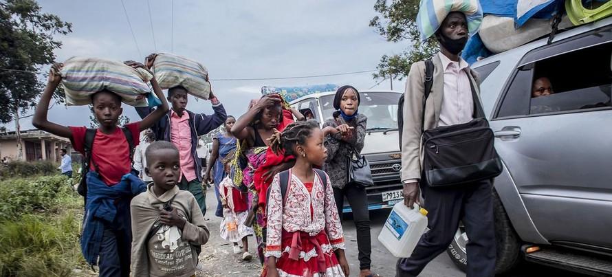 Người dân sơ tán khỏi Goma vì nguy cơ núi lửa phun trào ở CH Congo. (Ảnh: UNICEF)