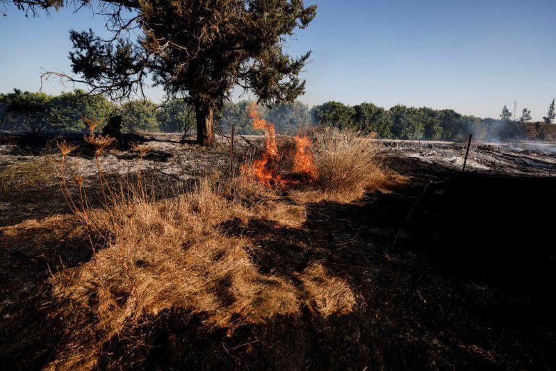 Một cánh đồng bốc cháy được nhìn thấy sau khi người Palestine ở Gaza phóng bóng bay gây cháy qua biên giới giữa Gaza và Israel, gần Nir Am, ngày 15/6/2021. (Ảnh: REUTERS/Amir Cohen)