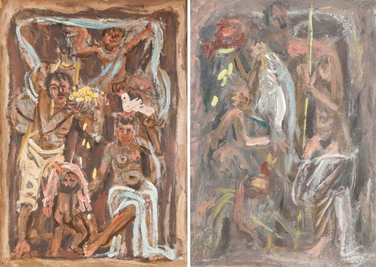 """Tác phẩm """"Gia đình"""" (trái) và """"Cá, quả lựu và gia đình"""" năm 1954 của họa sĩ của Lee Jung-seob. (Ảnh: Seoul Auction/K Auction)"""