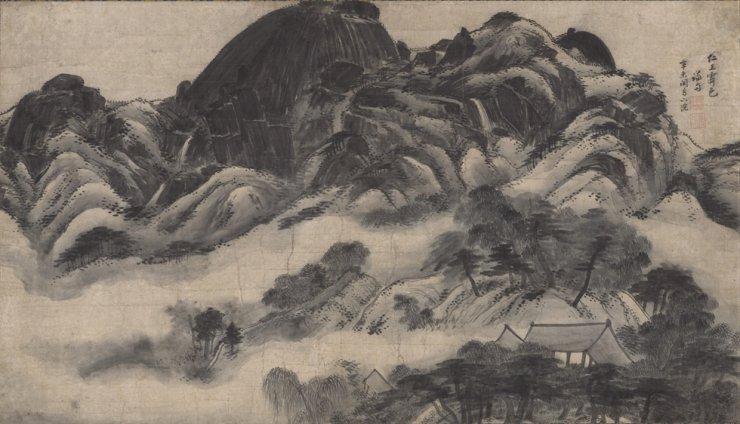 Bức họa 인왕재색도 (Sau cơn mưa trên núi Inwang) (1751) của họa sĩ thời Joseon - Jeong Seon (1676-1759). (Ảnh: Bảo tàng Quốc gia Hàn Quốc)