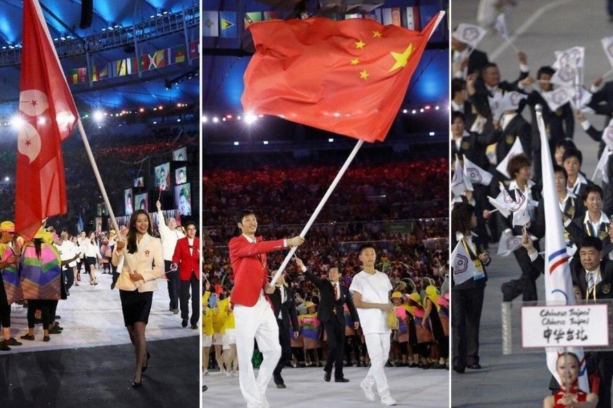 Các đội tuyển Trung Quốc, Hongkong và Đài Loan diễu hành dưới những cái tên và màu cờ khác nhau tại lễ khai mạc Olympic.