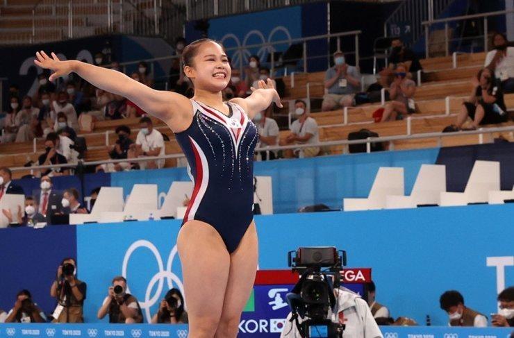 Vận động viên thể dục dụng cụ Yeo Seo-jeong tại trận chung kết Olympic nữ tại Trung tâm Thể dục dụng cụ Ariake ở Tokyo. (Ảnh: Yonhap)