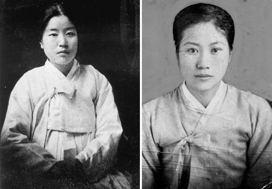 Các nhà văn hiện đại Rha Hye-seok (trái) và Baek Shin-ae.