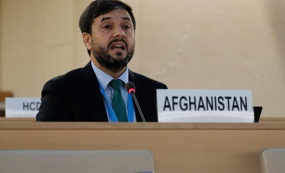Đại sứ Nasir Ahmad Andisha của Afghanistan phát biểu tại Phiên họp đặc biệt của Hội đồng Nhân quyền về Afghanistan. Ảnh: UNOG.