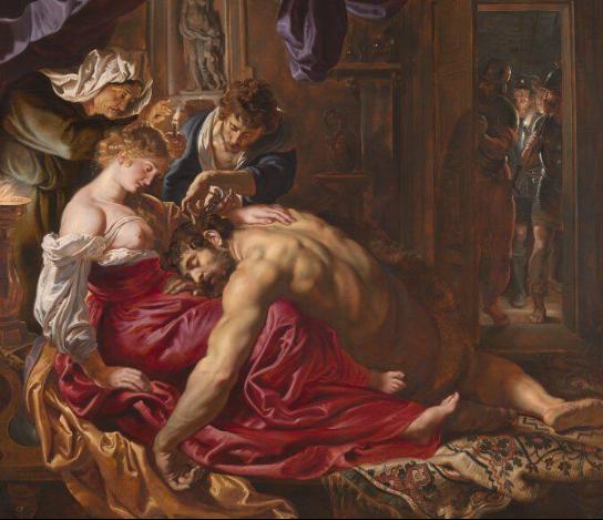 Họa sĩ Rubens đã vẽ một cảnh của Samson và nàng Delilah được mô tả cảnh trong Kinh thánh, Delilah đã dàn dựng việc cắt tóc của Samson trong khi chàng ngủ, việc có thể khiến chàng dũng sĩ mất hết mọi sức mạnh.