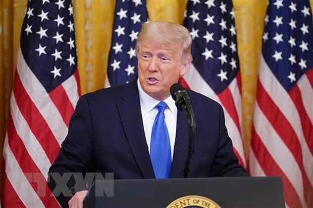 Tổng thống Mỹ Donald Trump phát biểu tại một sự kiện ở Nhà Trắng, Washington, DC. (Ảnh: AFP/TTXVN)