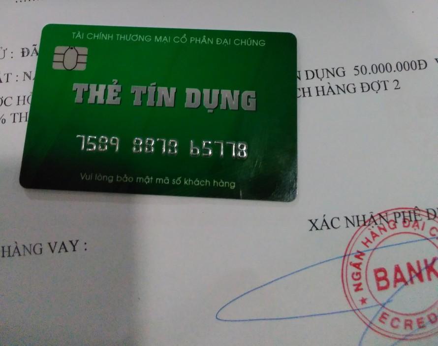 Thẻ tín dụng giả mạo sử dụng mập mờ tên Ngân hàng Đại chúng Bank, dễ gây nhầm lẫn với Ngân hàng TMCP Đại Chúng Việt Nam (PVcomBank)