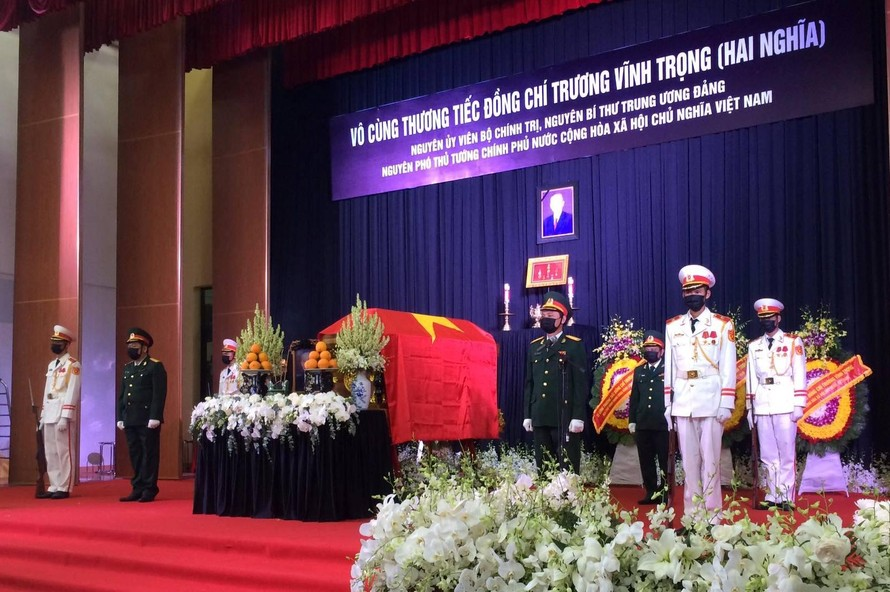 Chuẩn bị sẵn sàng, chu đáo cho lễ truy điệu nguyên Phó Thủ tướng Trương Vĩnh Trọng. - Ảnh: VGP
