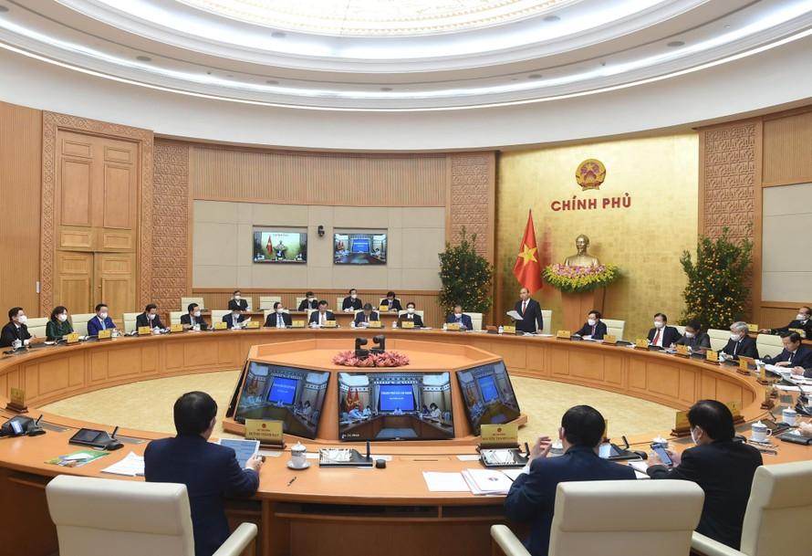 Phiên họp Chính phủ thường kỳ tháng 2/2021. Ảnh VGP/Quang Hiếu