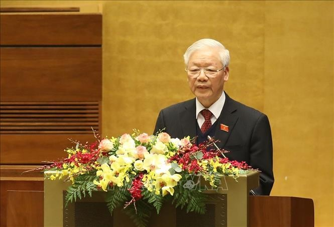 Tổng Bí thư, Chủ tịch nước Nguyễn Phú Trọng trình bày Báo cáo tổng kết công tác nhiệm kỳ 2016-2021 của Chủ tịch nước. Ảnh: Dương Giang/TTXVN