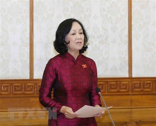 Đồng chí Trương Thị Mai, Ủy viên Bộ Chính trị, Trưởng Ban Tổ chức Trung ương. (Ảnh: Phương Hoa/TTXVN)