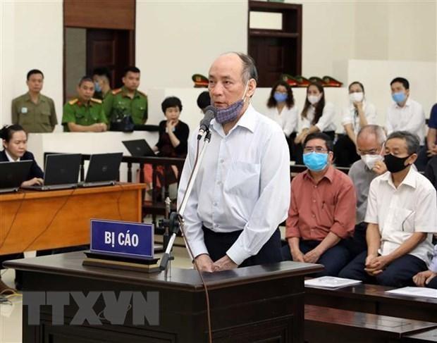 Bị cáo Trần Trọng Mừng (cựu Tổng giám đốc Công ty cổ phần Gang thép Thái Nguyên) khai báo trước tòa. (Ảnh: Phạm Kiên/TTXVN)