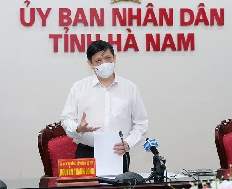 Bộ trưởng Bộ Y tế Nguyễn Thanh Long phát biểu tại cuộc họp với tỉnh Hà Nam - Ảnh: VGP/Nhật Bắc