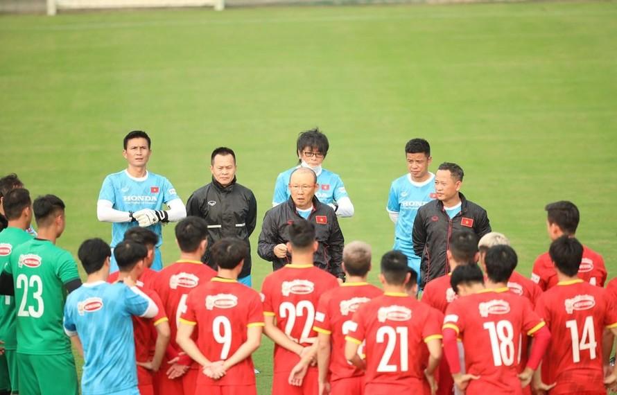 Đội tuyển Việt Nam mang 29 cầu thủ sang UAE thi đấu vòng loại World Cup 2022. (Ảnh: PV/Vietnam+)