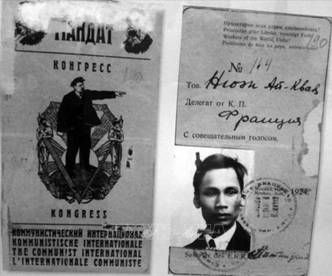 Thẻ đại biểu tư vấn cấp cho Nguyễn Ái Quốc để tham dự Đại hội lần thứ 5 Quốc tế Cộng sản tại Moskva (Liên Xô), từ ngày 17/6 - 8/7/1924. Ảnh: Tư liệu/TTXVN phát
