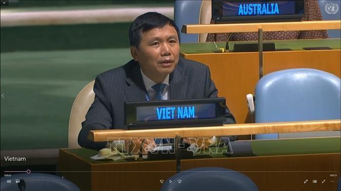 Đại sứ Đặng Đình Quý, Trưởng phái đoàn đại diện Việt Nam tại Liên hợp quốc. Ảnh: Hữu Thanh/TTXVN