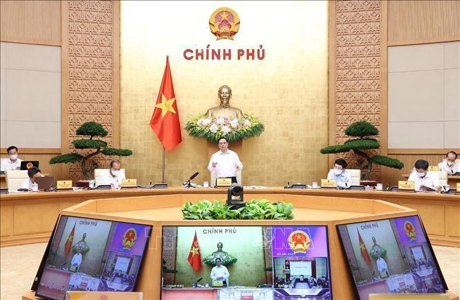 Thủ tướng Phạm Minh Chính phát biểu kết luận Phiên họp Chính phủ thường kỳ tháng 5. Ảnh: Dương Giang/TTXVN