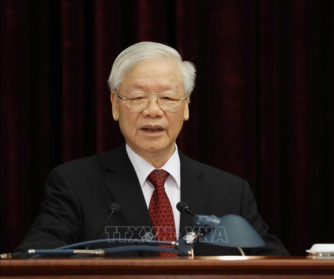 Tổng Bí thư Nguyễn Phú Trọng phát biểu khai mạc Hội nghị. Ảnh: Phương Hoa/TTXVN