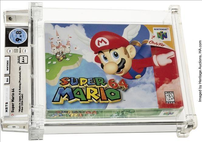 Băng video game Super Mario 64 của hãng Nintendo được bán đấu giá thành công với mức giá kỷ lục 1.560.000 USD. Ảnh: AFP/TTXVN