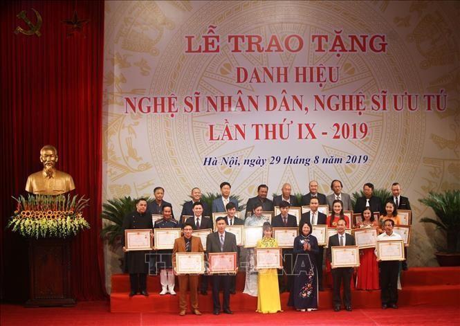 Lễ trao tặng danh hiệu vinh dự Nhà nước, Nghệ sỹ Nhân dân, Nghệ sỹ Ưu tú lần thứ IX năm 2019. Ảnh tư liệu: Thanh Tùng/TTXVN