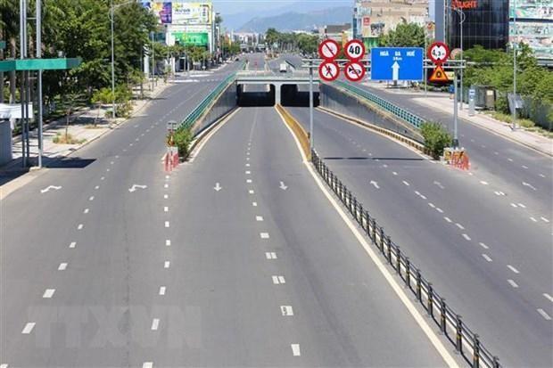 Đường phố thành phố Đà Nẵng vắng vẻ trong thời gian thực hiện quy định ai ở đâu ở yên đó. (Ảnh: Trần Lê Lâm/TTXVN)