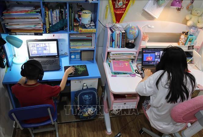 Học sinh Vinschool (Hà Nội) tựu trường qua hình thức trực tuyến. Ảnh: Thanh Tùng/TTXVN