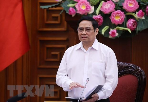 Thủ tướng Phạm Minh Chính, Trưởng Ban Chỉ đạo Quốc gia phòng, chống dịch COVID-19 phát biểu kết luận cuộc họp. (Ảnh: Dương Giang/TTXVN)