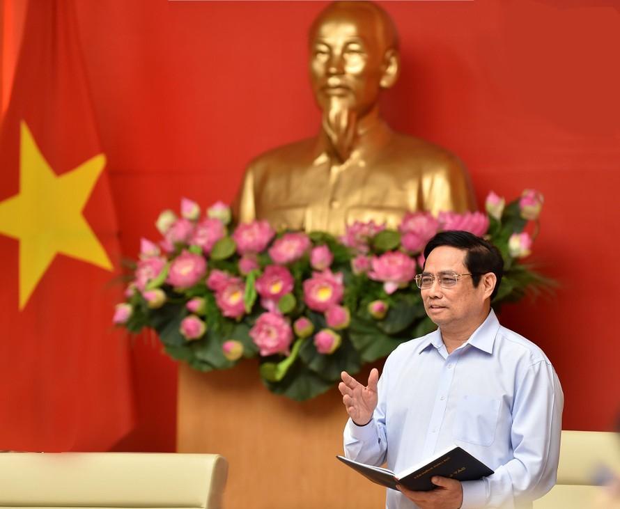 Thủ tướng Chính phủ Phạm Minh Chính phát biểu kết luận Hội nghị - Ảnh: VGP/Nhật Bắc