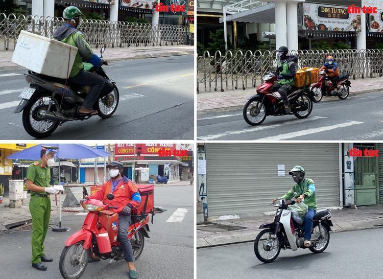 Shipper chạy trên đường để giao đồ cho người dân. Ảnh: Mạnh Linh/Báo Tin tức