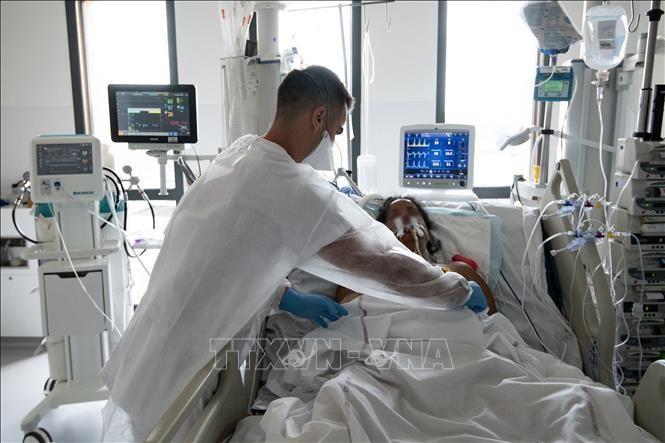 Nhân viên y tế điều trị cho bệnh nhân COVID-19 tại một bệnh viện ở Fort-de-France thuộc đảo Martinique của Pháp ngày 29/8/2021. Ảnh: AFP/TTXVN