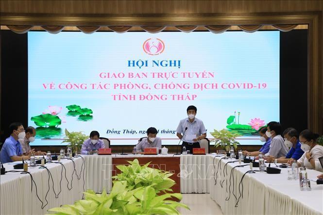 Ông Phạm Thiện Nghĩa - Chủ tịch UBND tỉnh Đồng Tháp phát biểu tại Hội nghị giao ban công tác phòng, chống dịch COVID-19 tối 4/9.