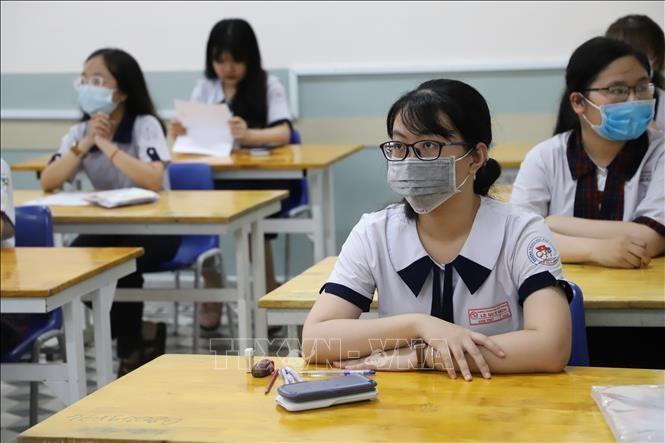 Thí sinh tại điểm thi Trường THPT Lê Quý Đôn (quận 3, TP Hồ Chí Minh). Ảnh minh họa: Hồng Giang/TTXVN