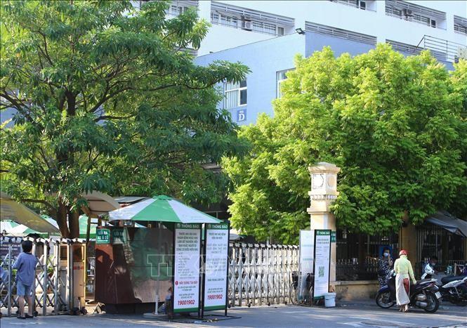 Tòa nhà D, Bệnh viện Việt Đức (Hà Nội) bị phong tỏa tạm thời. Ảnh: Hoàng Hiếu/TTXVN
