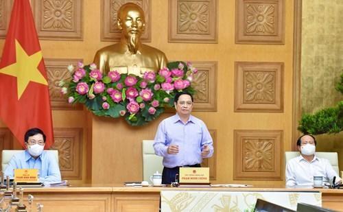 Thủ tướng Chính phủ Phạm Minh Chính chủ trì Hội nghị trực tuyến toàn quốc với các bộ, cơ quan Trung ương và địa phương về đẩy mạnh giải ngân kế hoạch vốn đầu tư công năm 2021 - Ảnh: VGP